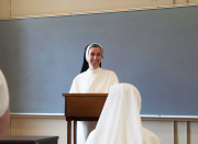 The novice studies spiritual theology, patristics, Scripture and the theology of the vows.