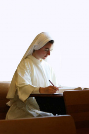 She studies the Catechism of the Catholic Church, Canon Law, and Church documents, especially those related to religious life.