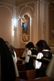 She attends all community prayers and practices the monastic customs that are a part of our life.