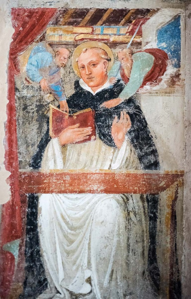 st dominic receives scrupture and staff from sts peter and paul, bologna, fresco,