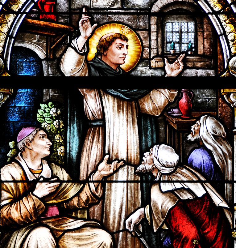 nashville dominicans, Dominican sisters of st. cecilia congregation, nashville, education, teaching, dominican sisters, st. cecilia congregation, stained glass windows, st cecilia chapel, life of dominic in stained glass, franz mayer stained glass, dominic converts the innkeeper, dominic preaching